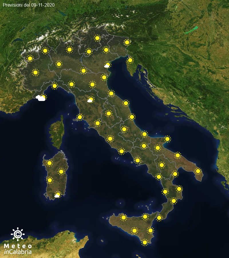 Previsioni del tempo in Italia per il giorno 09/11/2020
