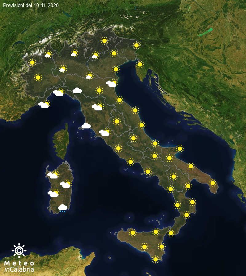 Previsioni del tempo in Italia per il giorno 10/11/2020