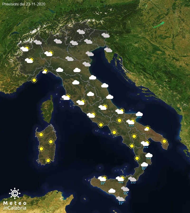 Previsioni del tempo in Italia per il giorno 23/11/2020