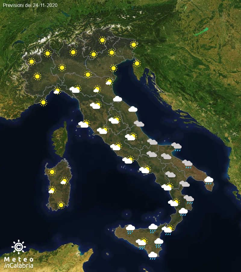 Previsioni del tempo in Italia per il giorno 24/11/2020