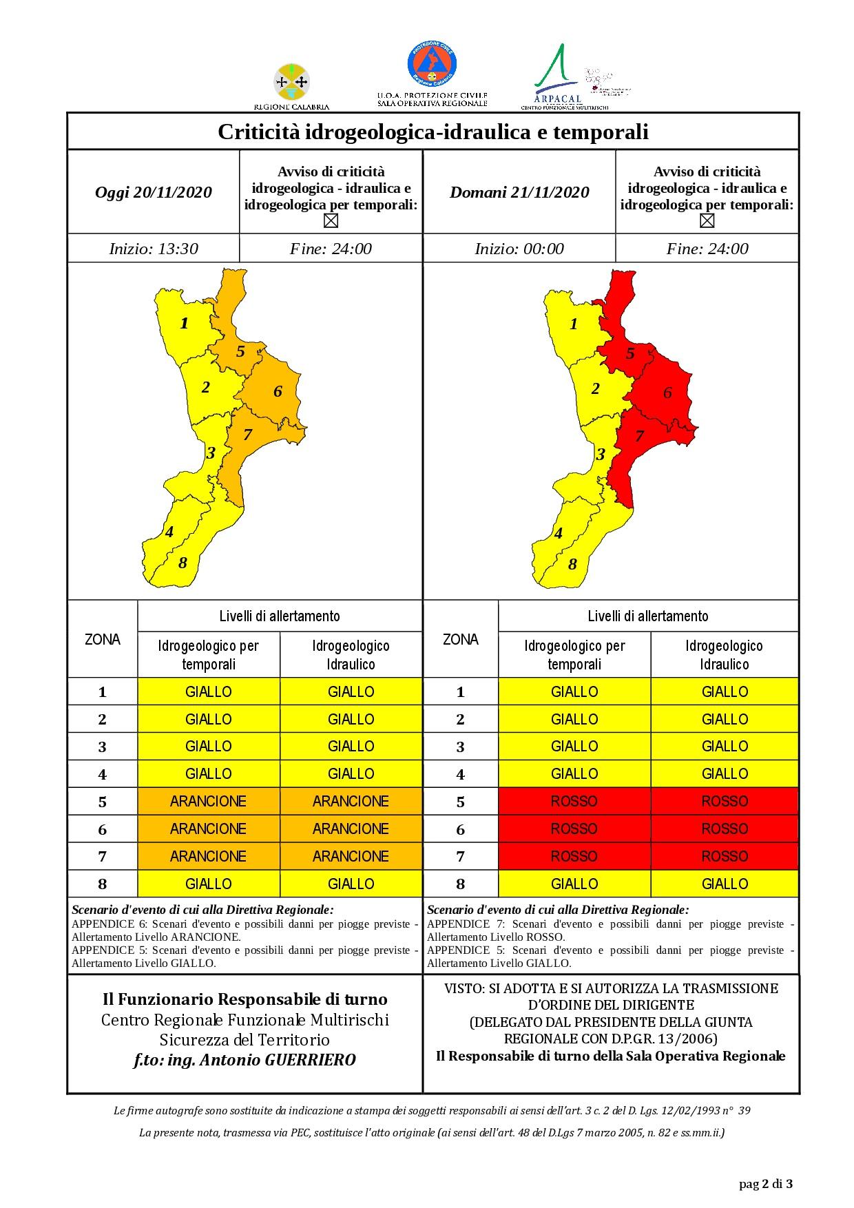 Criticità idrogeologica-idraulica e temporali in Calabria 20-11-2020