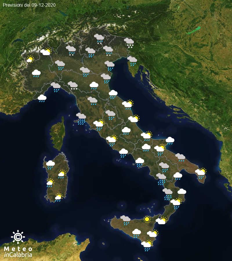 Previsioni del tempo in Italia per il giorno 09/12/2020