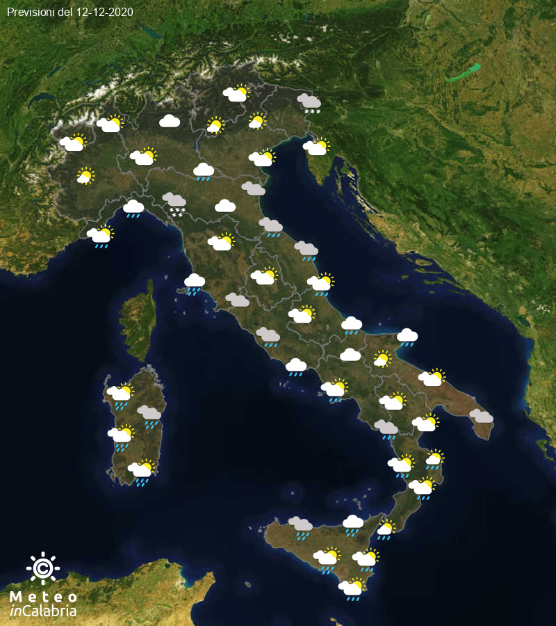 Previsioni del tempo in Italia per il giorno 12/12/2020