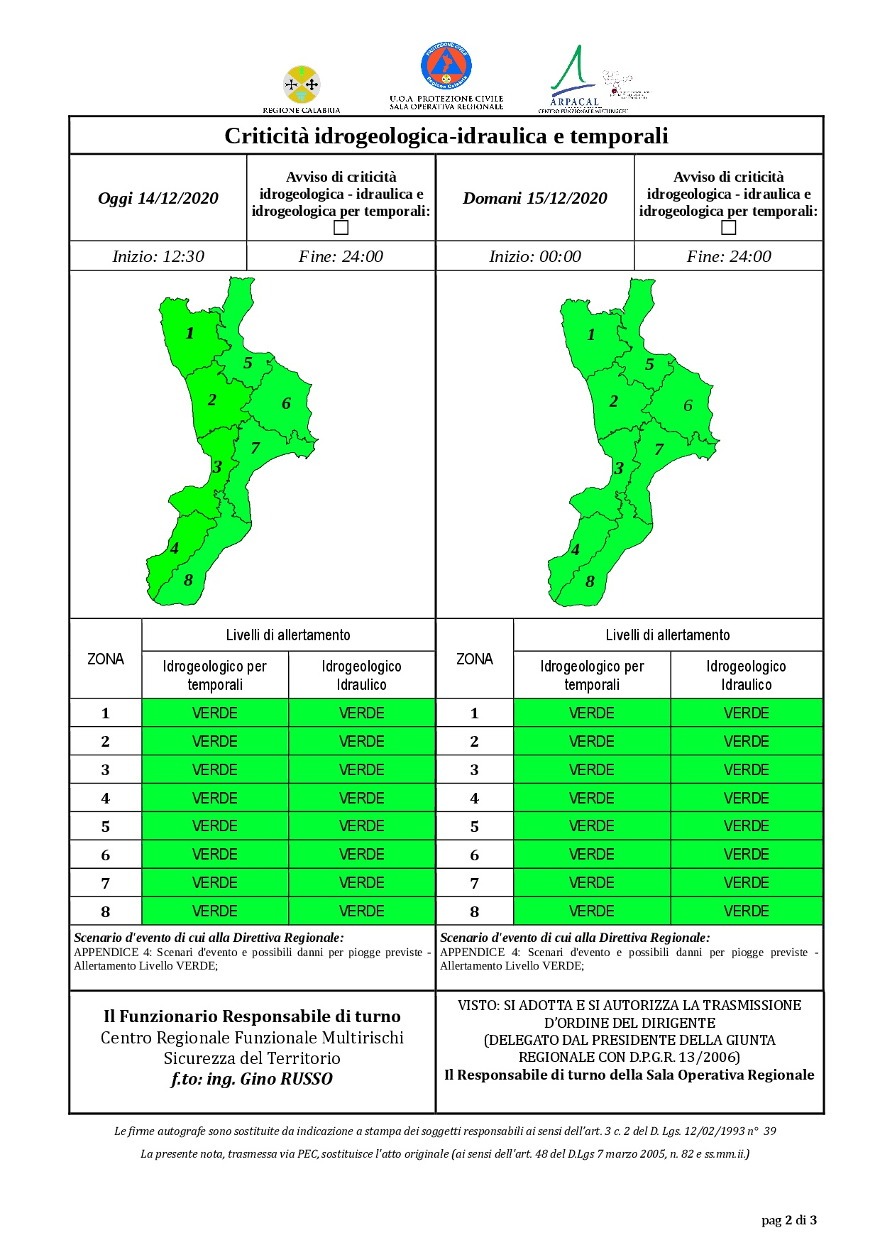 Criticità idrogeologica-idraulica e temporali in Calabria 14-12-2020
