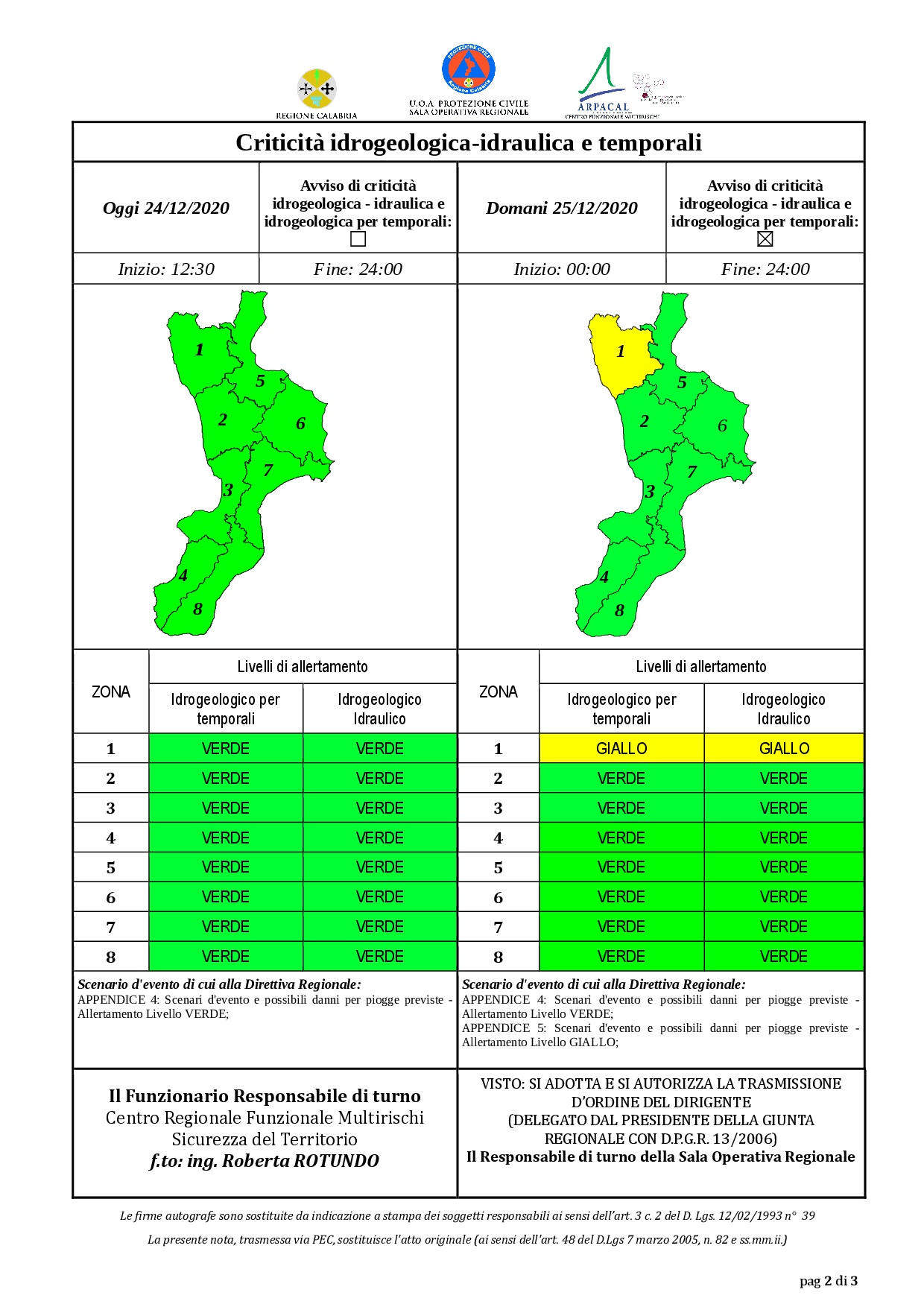 Criticità idrogeologica-idraulica e temporali in Calabria 24-12-2020