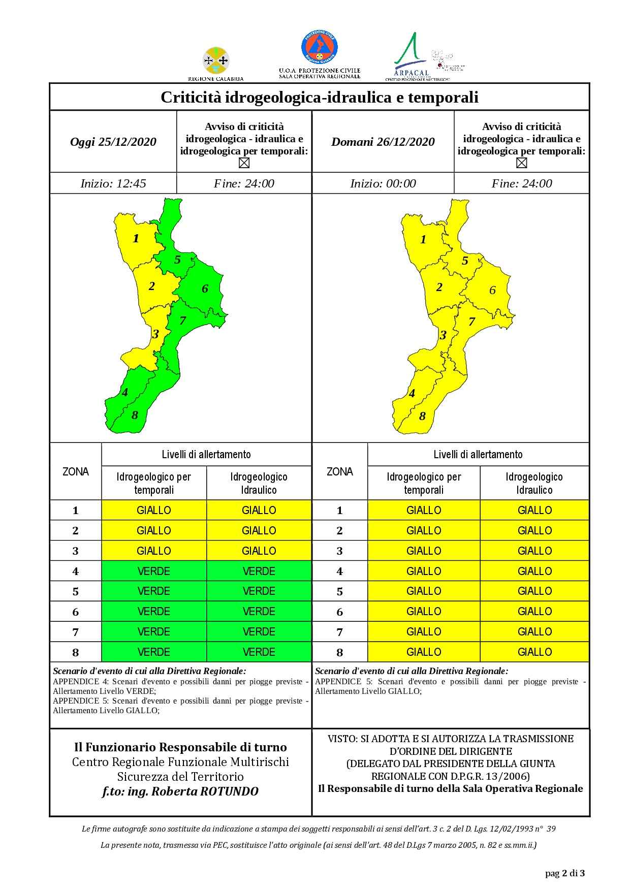 Criticità idrogeologica-idraulica e temporali in Calabria 25-12-2020