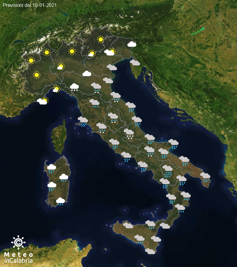 Previsioni del tempo in Italia per il giorno 10/01/2021