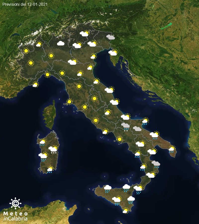 Previsioni del tempo in Italia per il giorno 12/01/2021