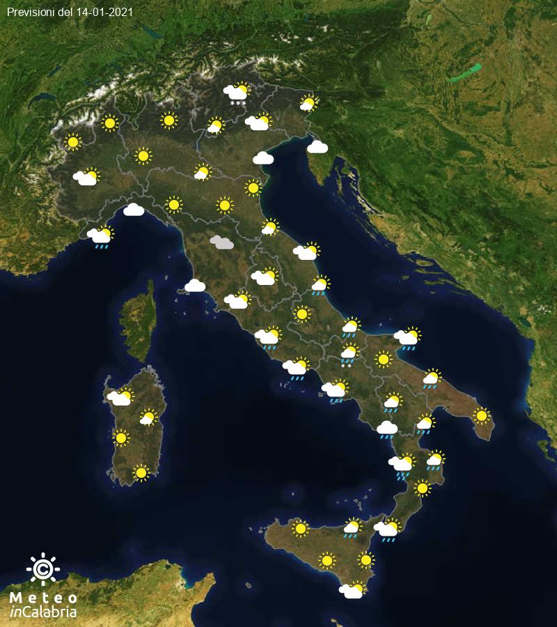 Previsioni del tempo in Italia per il giorno 14/01/2021