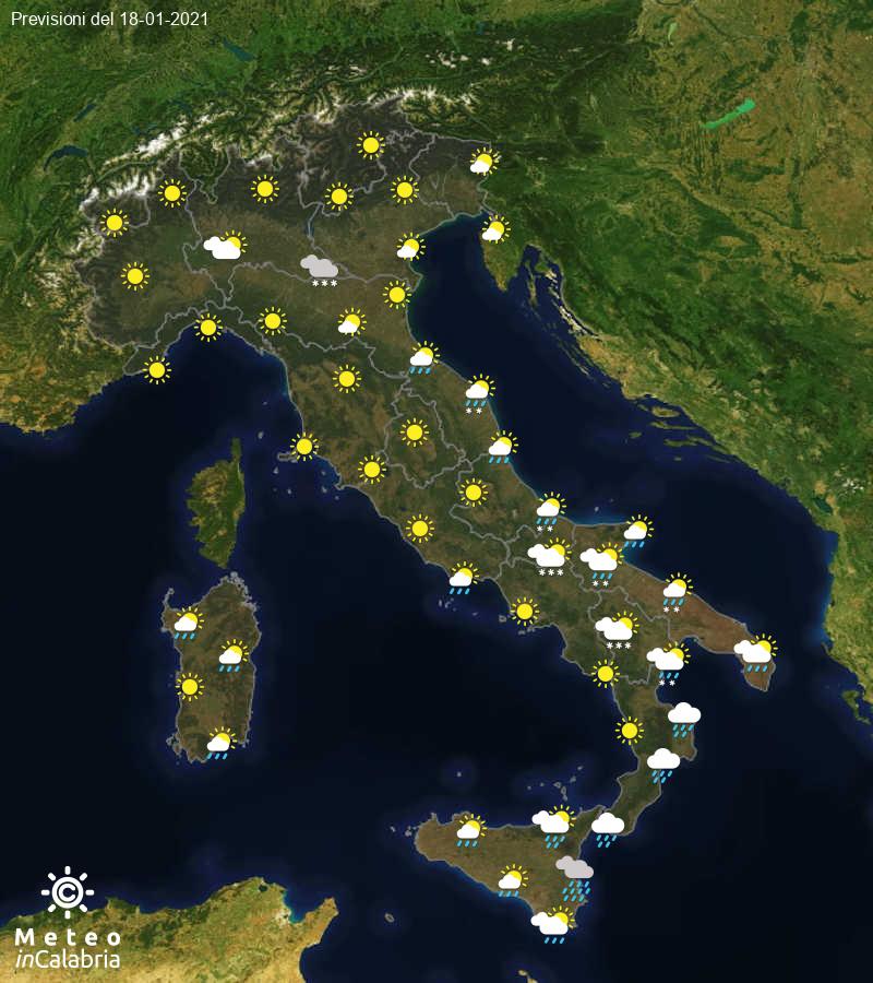 Previsioni del tempo in Italia per il giorno 18/01/2021