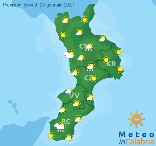 Previsioni Meteo Calabria 28-01-2021