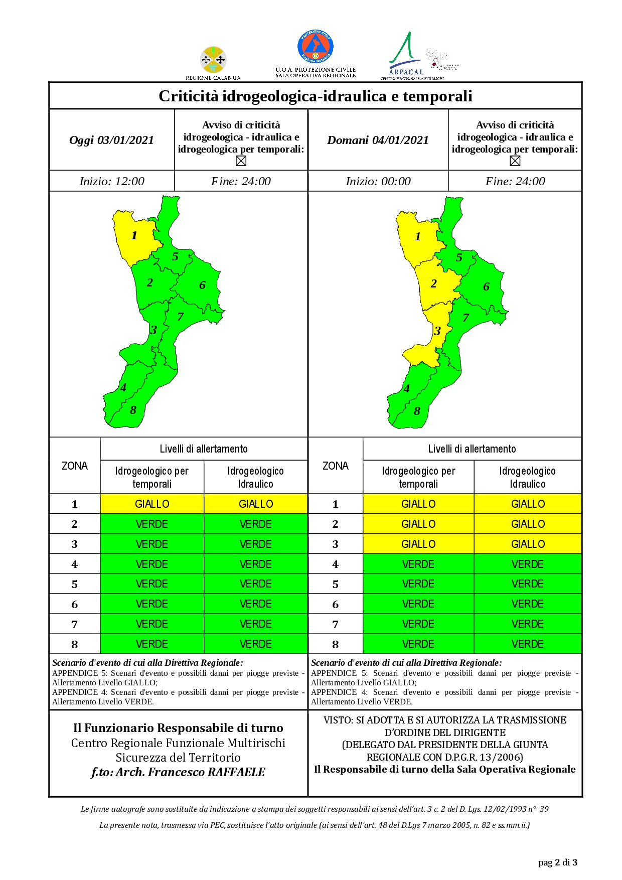 Criticità idrogeologica-idraulica e temporali in Calabria 03-01-2021