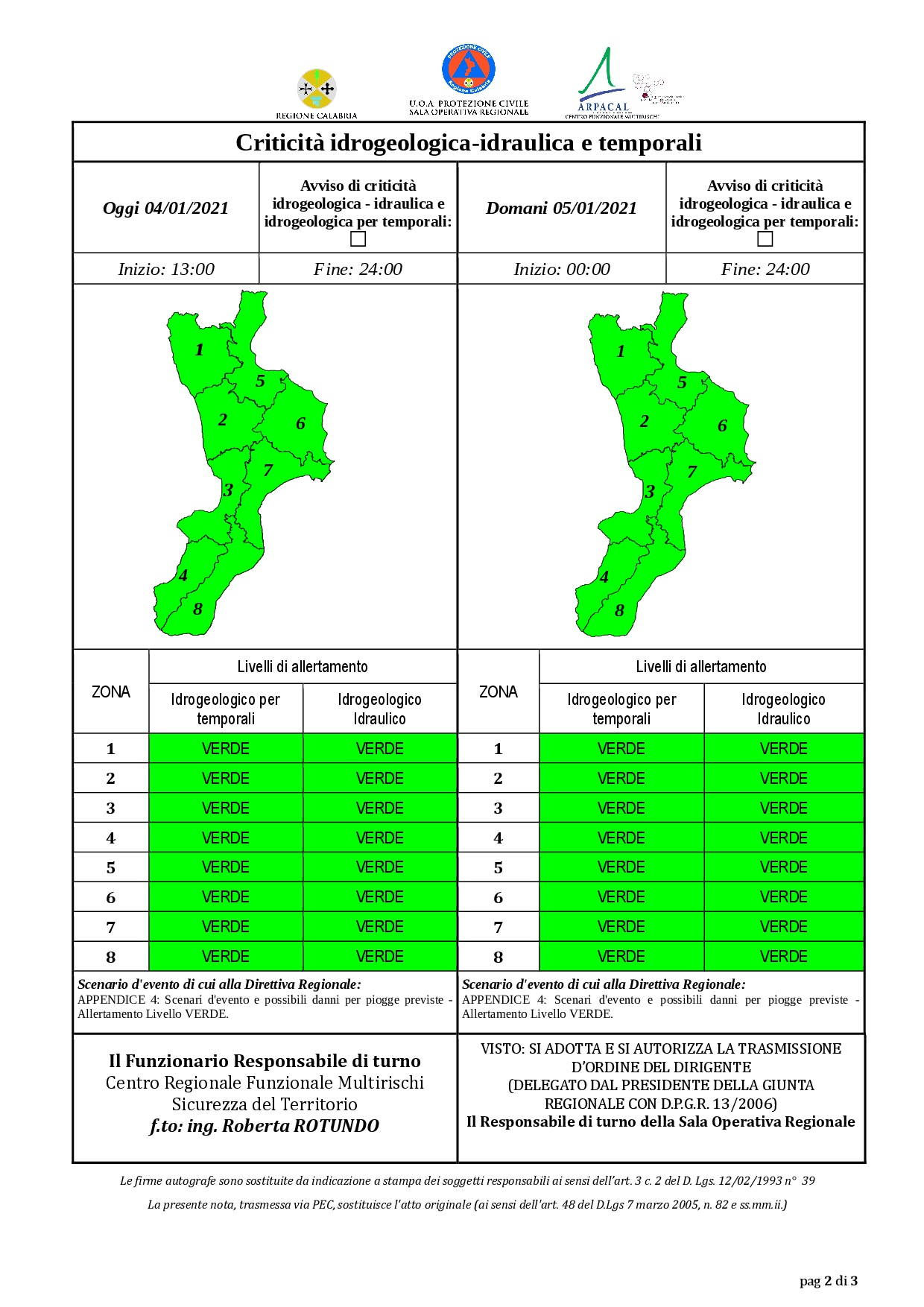 Criticità idrogeologica-idraulica e temporali in Calabria 04-01-2021