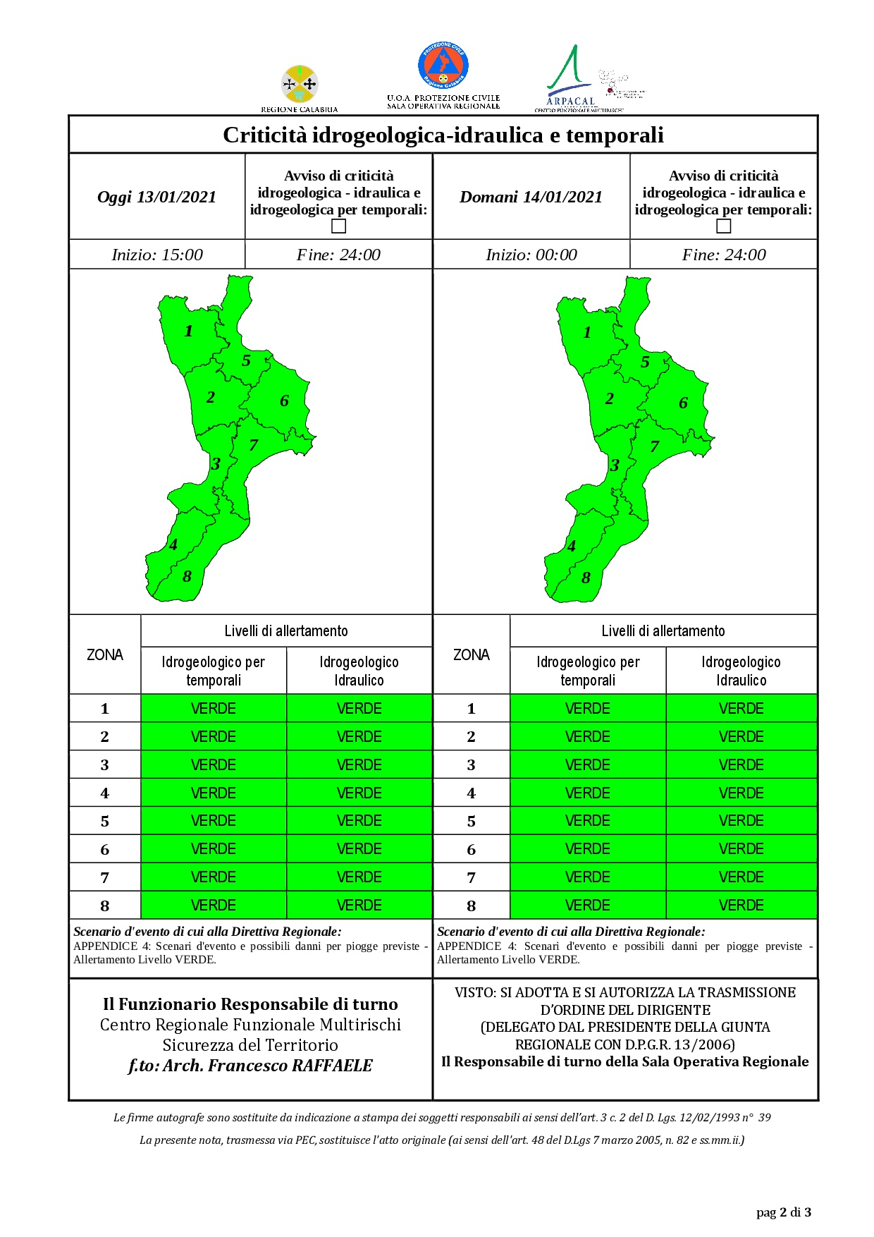 Criticità idrogeologica-idraulica e temporali in Calabria 13-01-2021