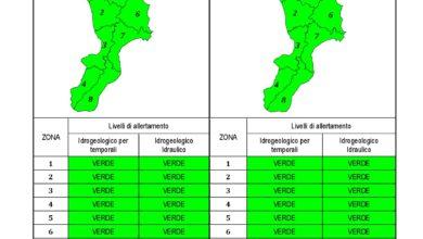 Criticità idrogeologica-idraulica e temporali in Calabria 18-01-2021