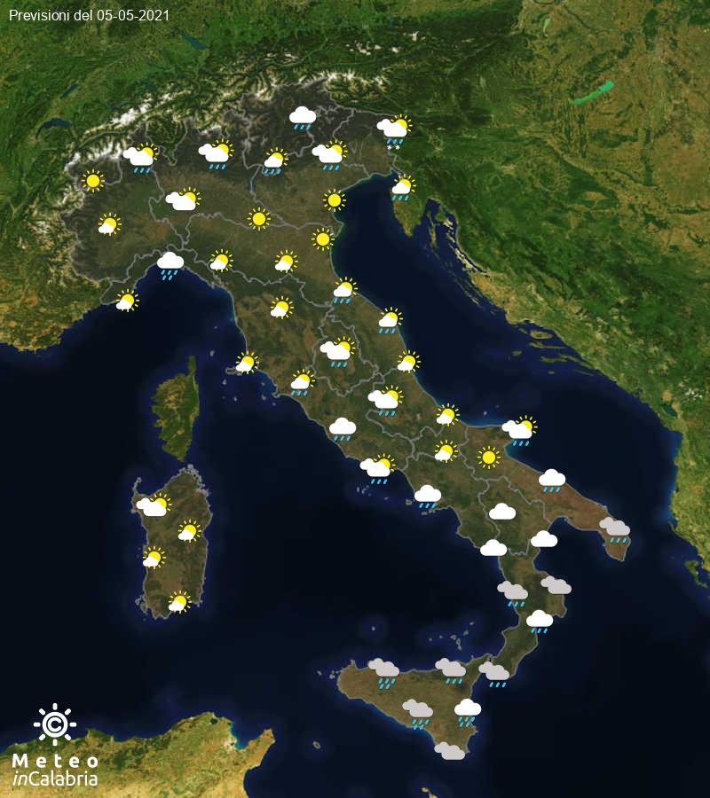 Previsioni del tempo in Italia per il giorno 05/05/2021