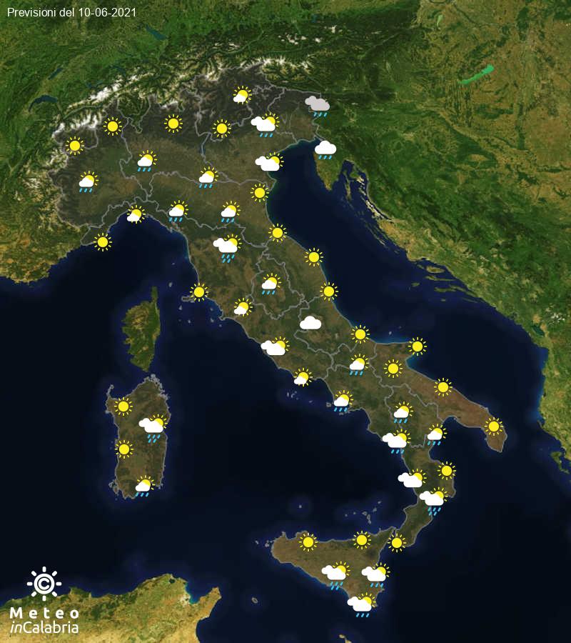 Previsioni del tempo in Italia per il giorno 10/06/2021