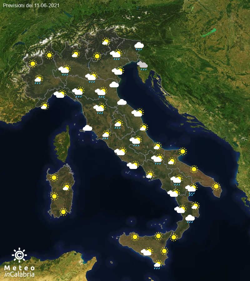 Previsioni del tempo in Italia per il giorno 11/06/2021