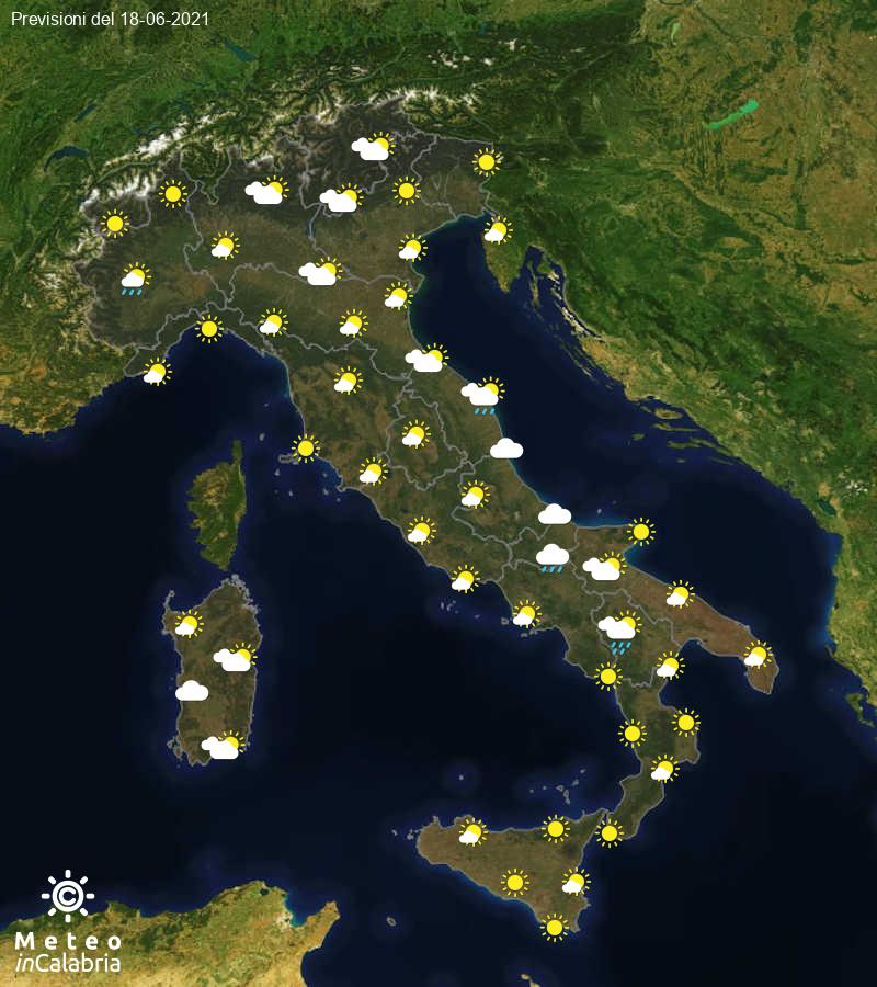 Previsioni del tempo in Italia per il giorno 18/06/2021