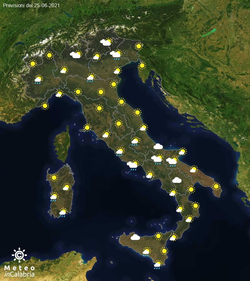 Previsioni del tempo in Italia per il giorno 25/06/2021