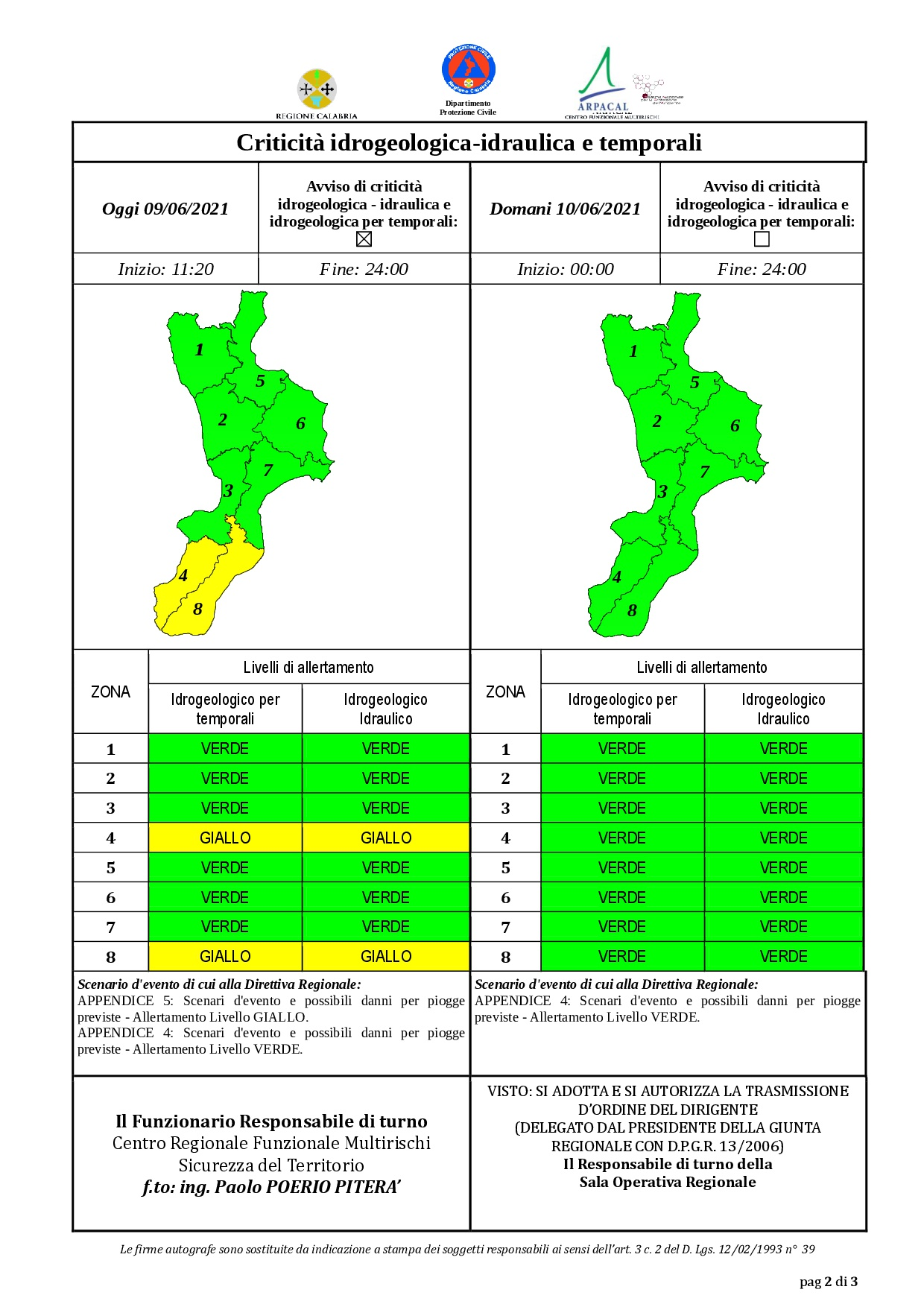 Criticità idrogeologica-idraulica e temporali in Calabria 09-06-2021