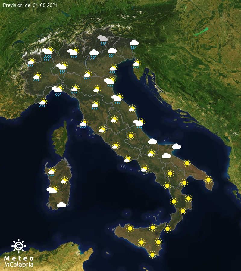Previsioni del tempo in Italia per il giorno 01/08/2021