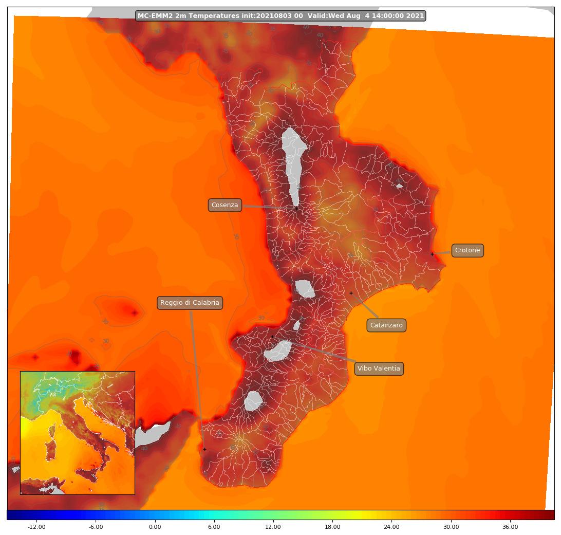 mappa temperature al suolo Calabria mercoledì