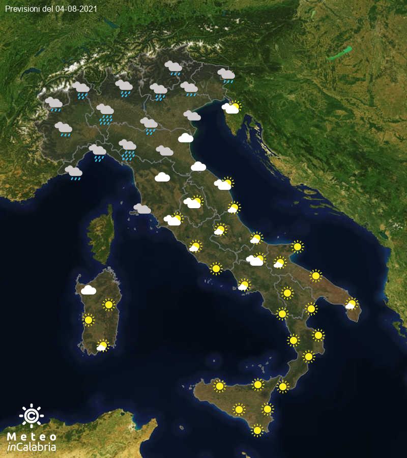 Previsioni del tempo in Italia per il giorno 04/08/2021