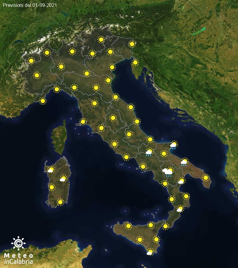 Previsioni del tempo in Italia per il giorno 01/09/2021