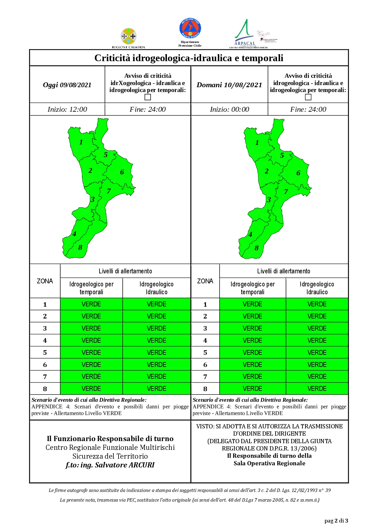 Criticità idrogeologica-idraulica e temporali in Calabria 09-08-2021