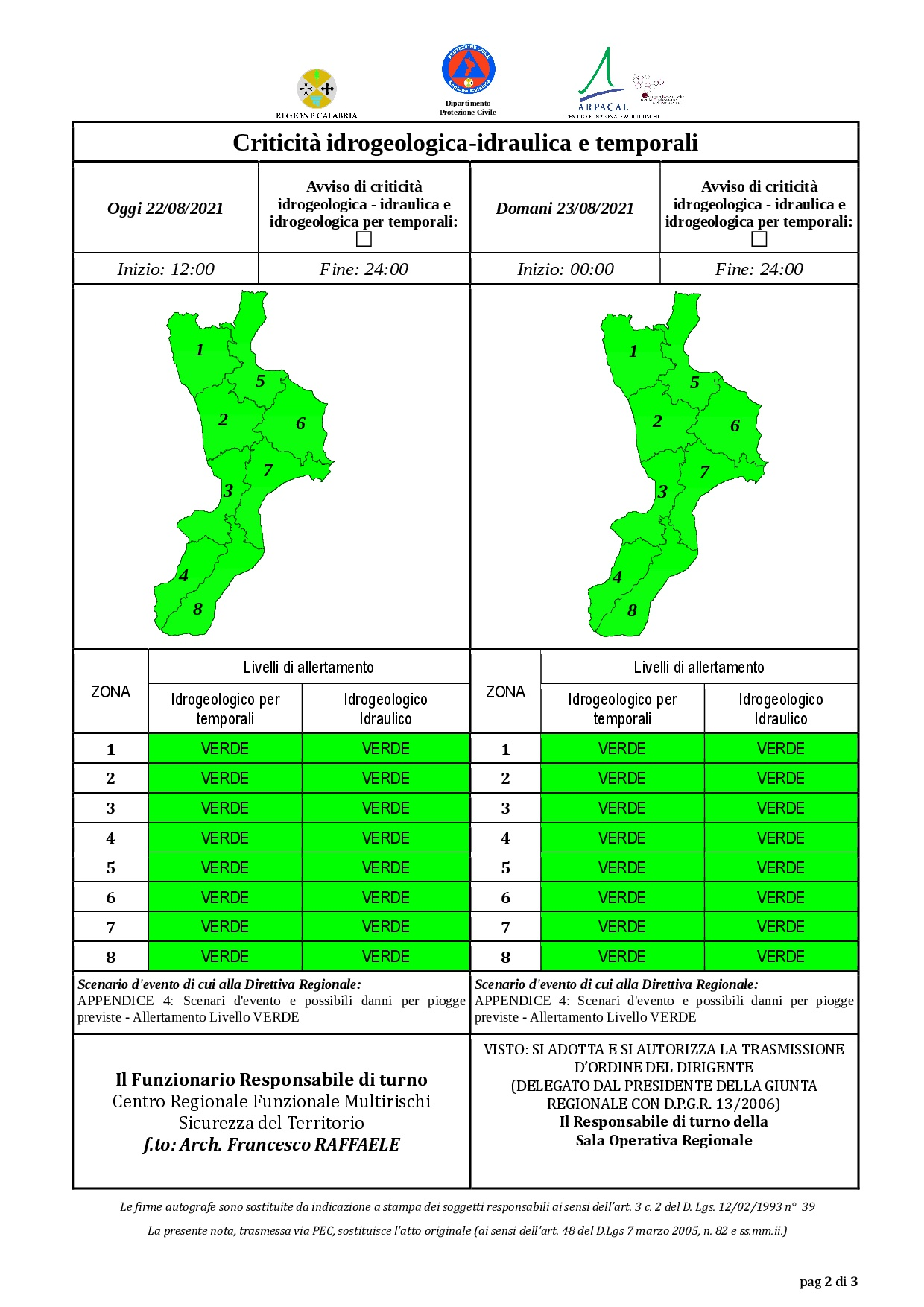 Criticità idrogeologica-idraulica e temporali in Calabria 22-08-2021