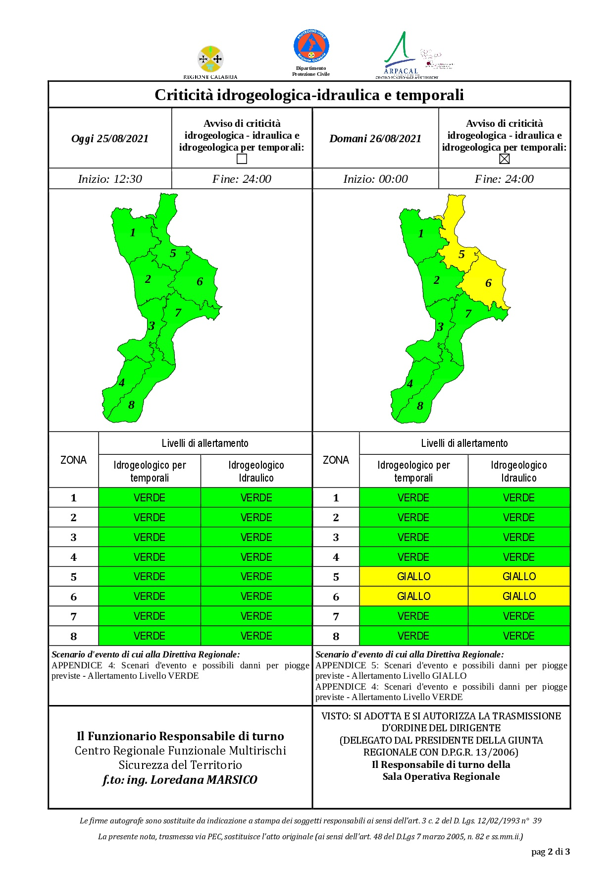 Criticità idrogeologica-idraulica e temporali in Calabria 25-08-2021