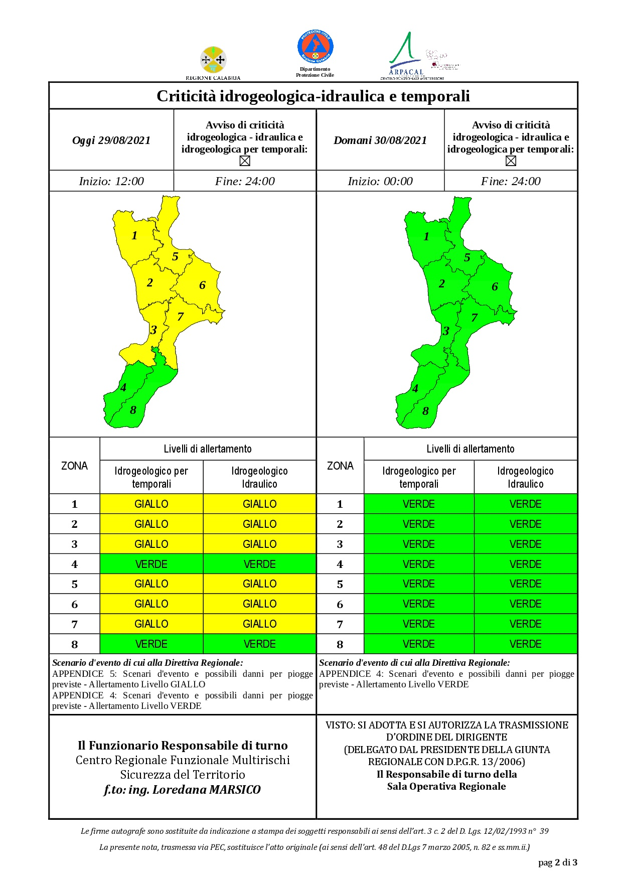 Criticità idrogeologica-idraulica e temporali in Calabria 29-08-2021