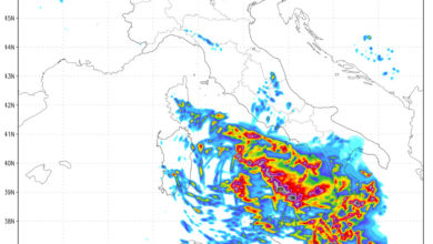 Vortice sul Tirreno provocherà maltempo