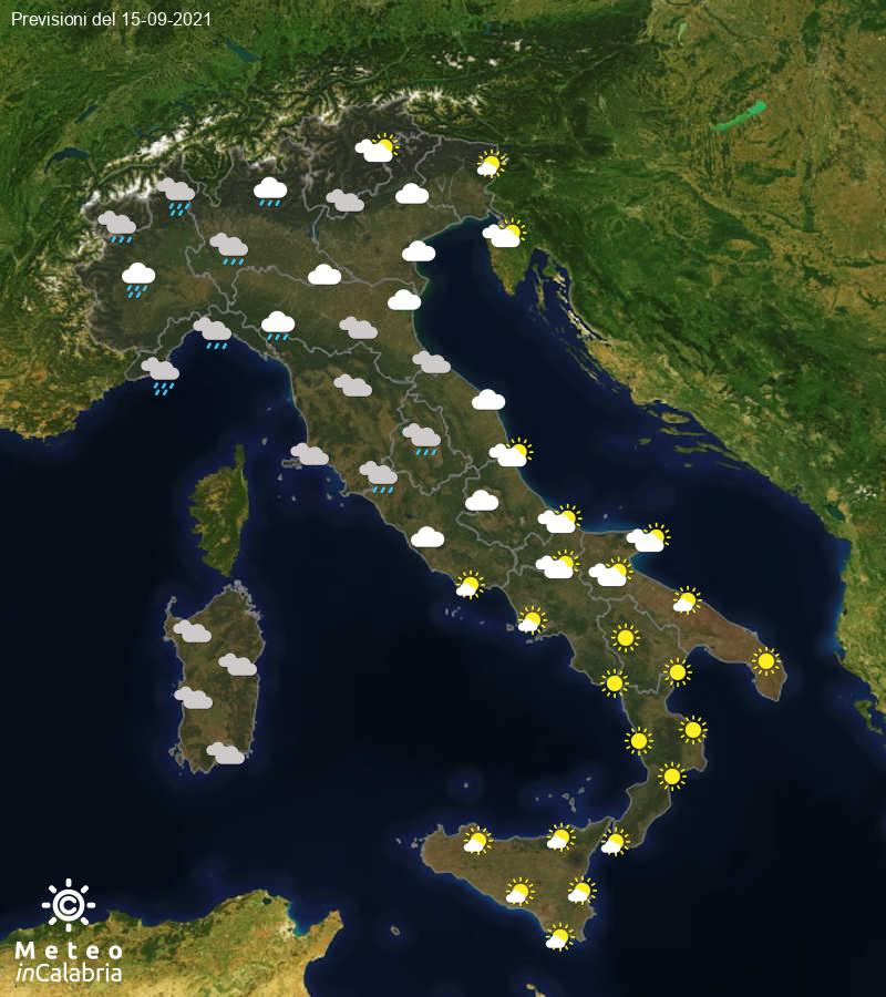 Previsioni del tempo in Italia per il giorno 15/09/2021