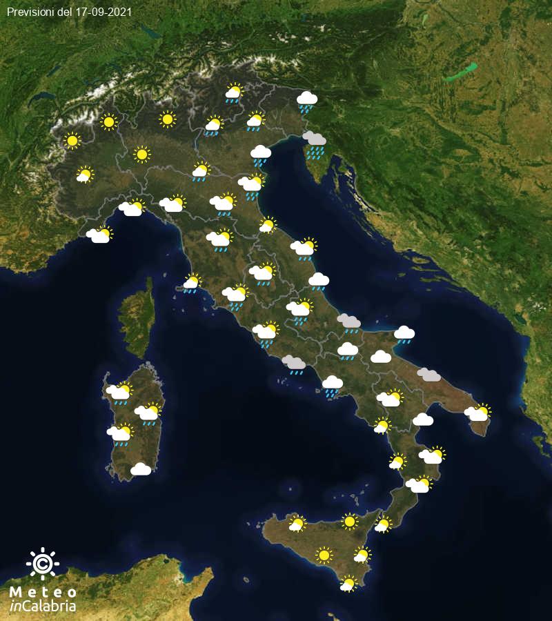 Previsioni del tempo in Italia per il giorno 17/09/2021