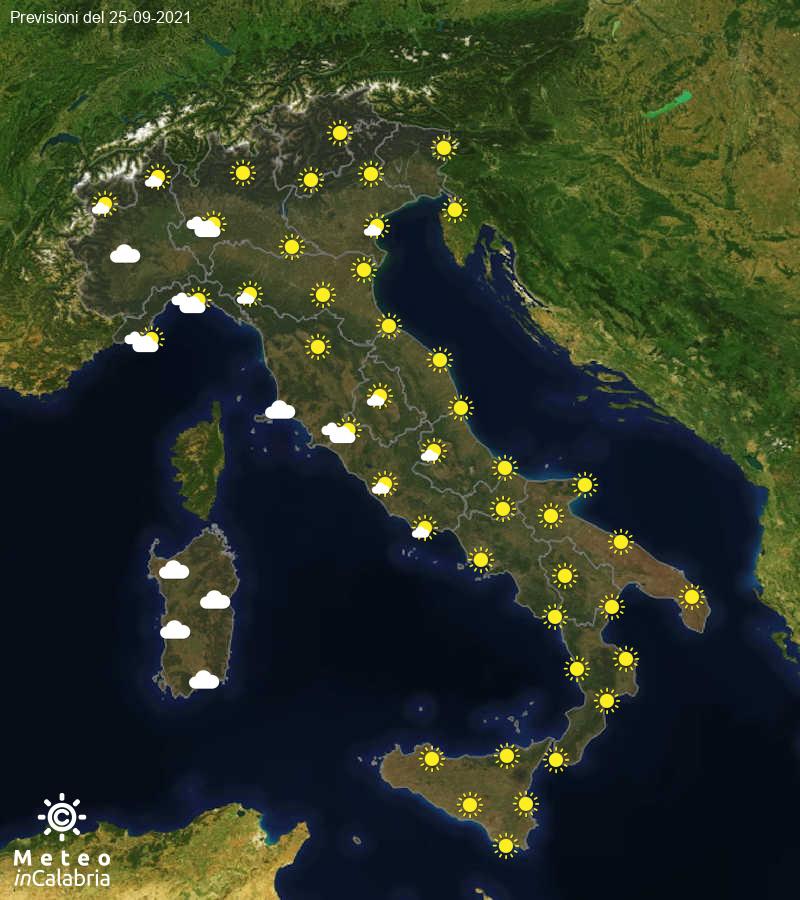 Previsioni del tempo in Italia per il giorno 25/09/2021