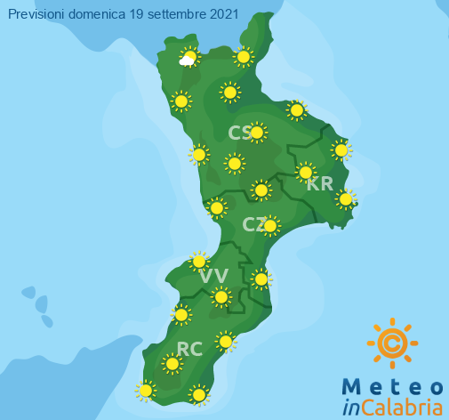 Previsioni Meteo Calabria 19-09-2021