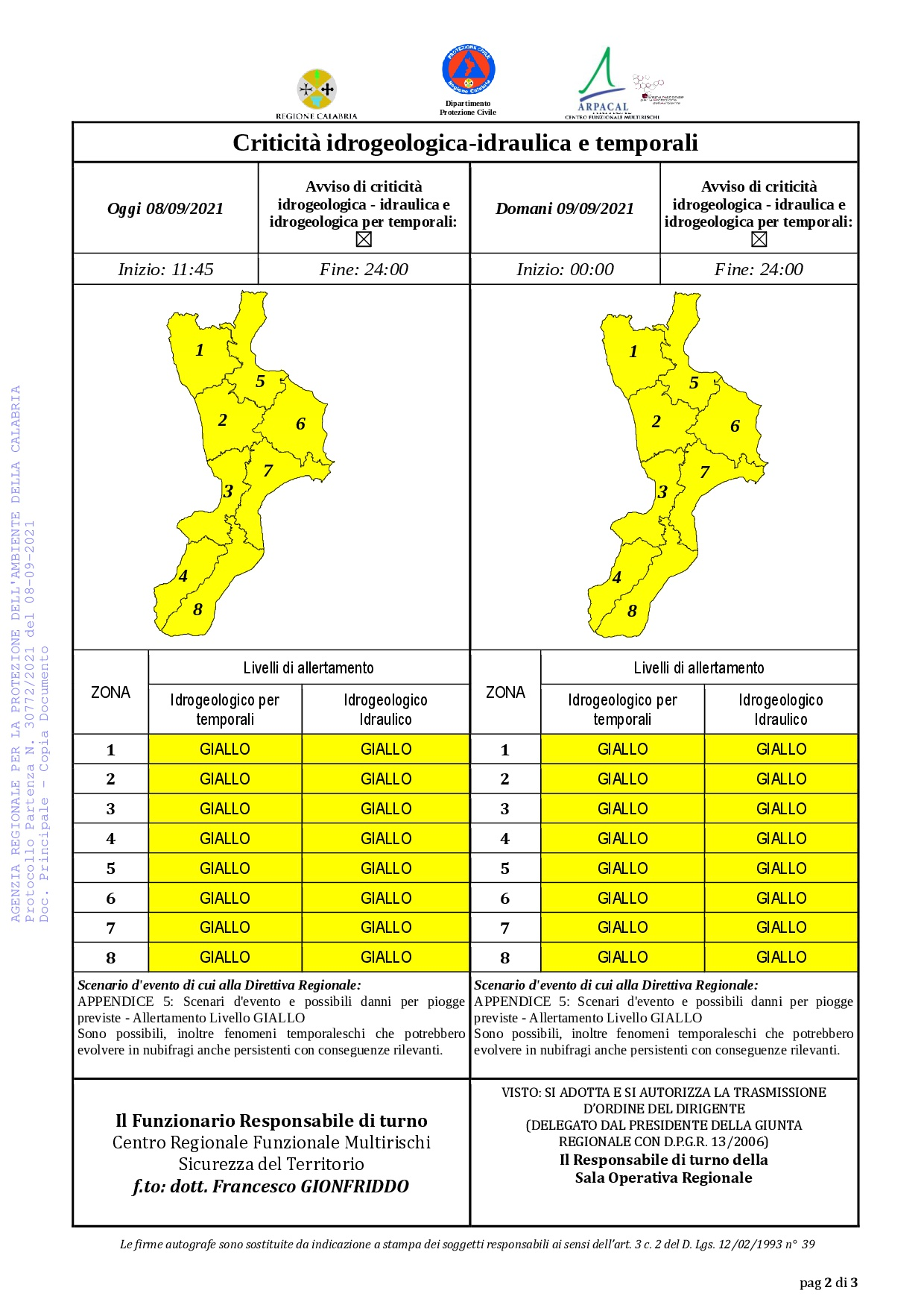 Criticità idrogeologica-idraulica e temporali in Calabria 08-09-2021