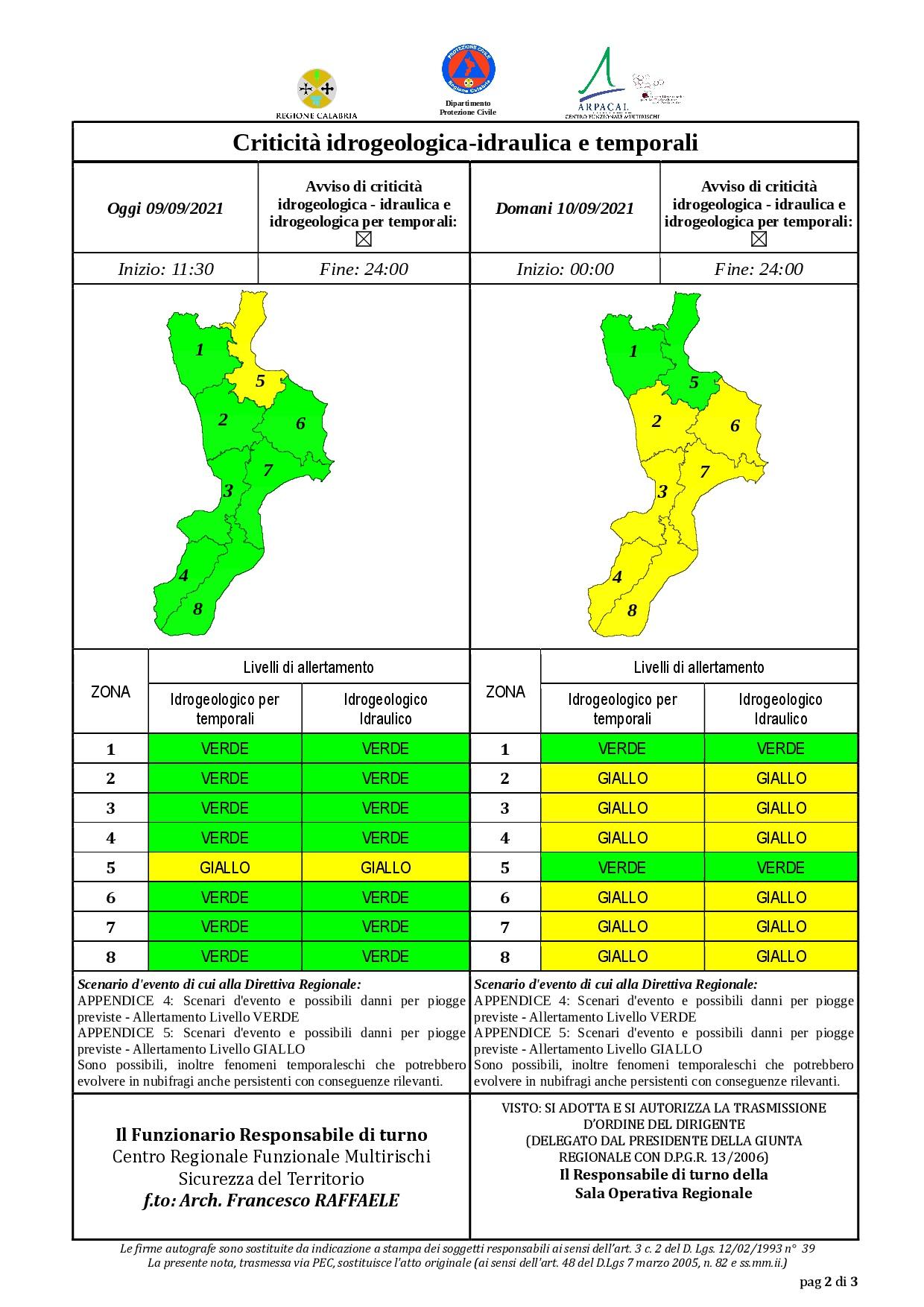 Criticità idrogeologica-idraulica e temporali in Calabria 09-09-2021