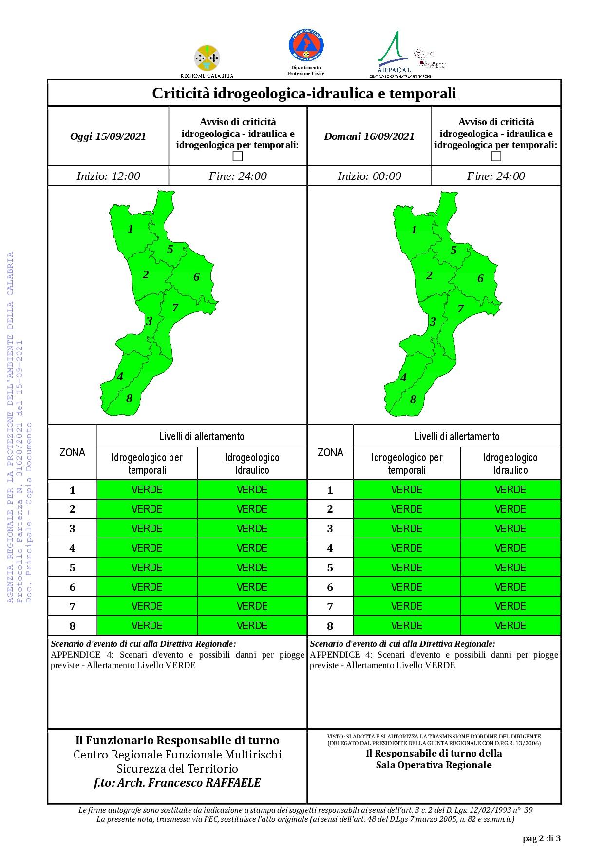 Criticità idrogeologica-idraulica e temporali in Calabria 15-09-2021