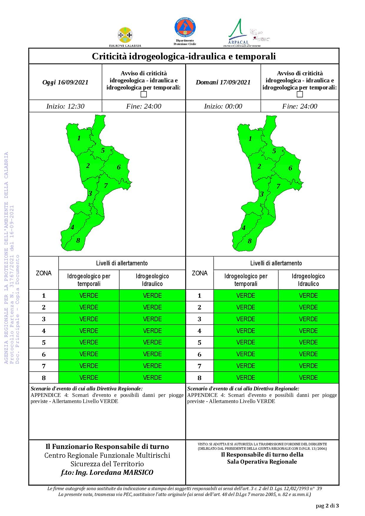 Criticità idrogeologica-idraulica e temporali in Calabria 16-09-2021