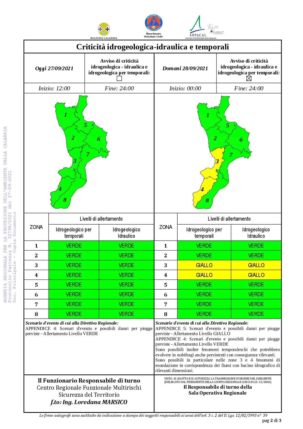 Criticità idrogeologica-idraulica e temporali in Calabria 27-09-2021
