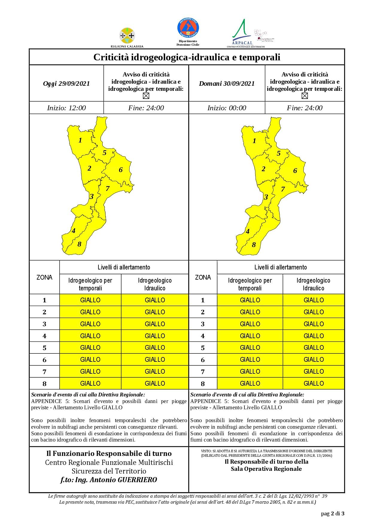 Criticità idrogeologica-idraulica e temporali in Calabria 29-09-2021