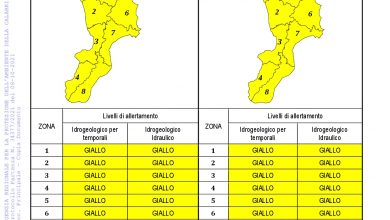Criticità idrogeologica-idraulica e temporali in Calabria 08-10-2021