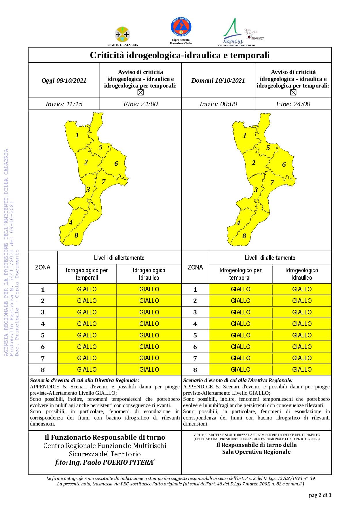 Criticità idrogeologica-idraulica e temporali in Calabria 09-10-2021