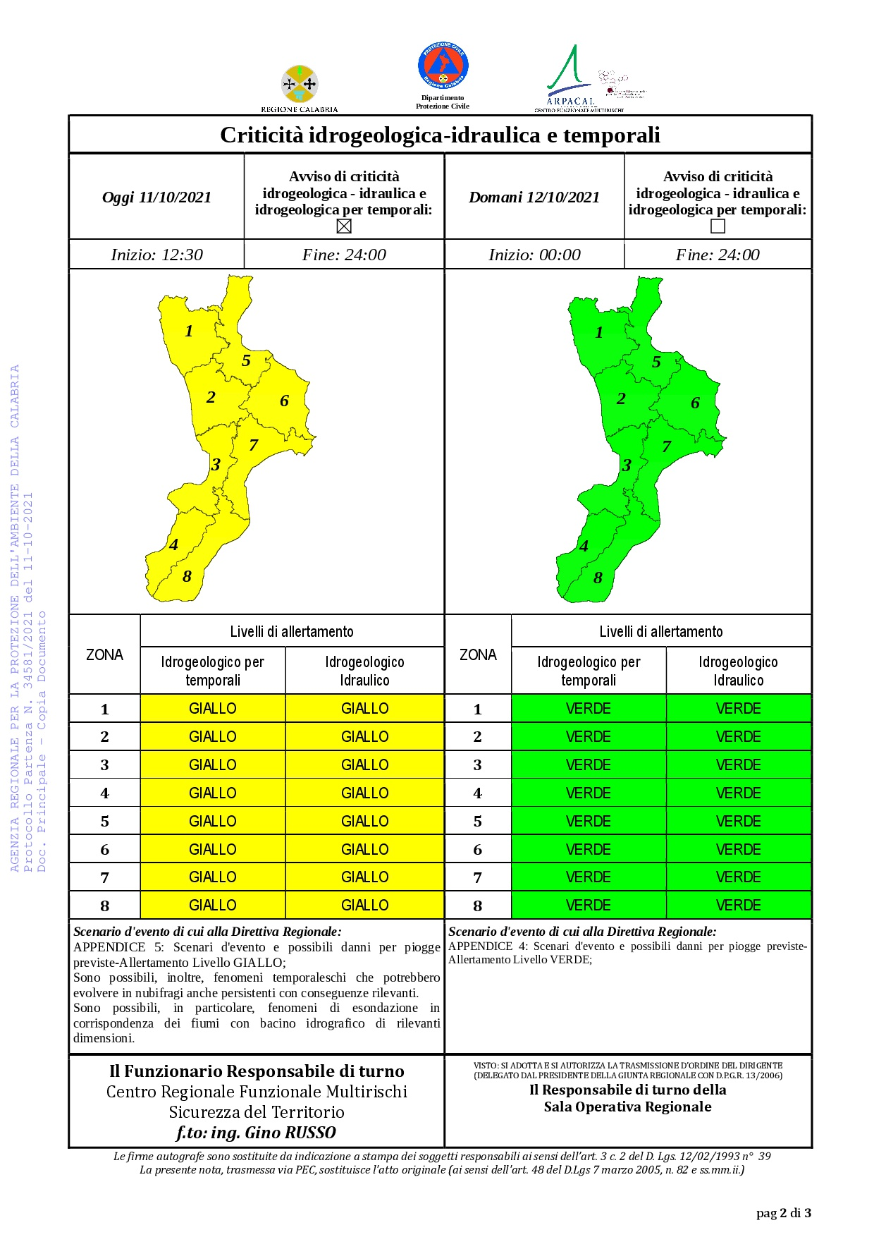 Criticità idrogeologica-idraulica e temporali in Calabria 11-10-2021