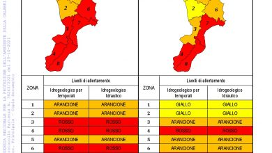 Criticità idrogeologica-idraulica e temporali in Calabria 26-10-2021